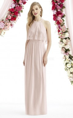 Formal Long Chiffon Halter Gray A Line Bridesmaid Dress BDNZ1648