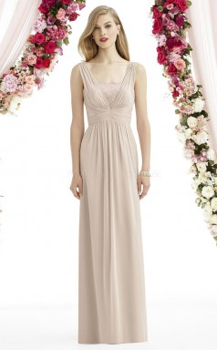 Trendy Gray Long Straps Chiffon A Line Bridesmaid Dress BDNZ1649