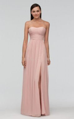Informal Long Pink Sweetheart Chiffon Bridesmaid Dress BDNZ1651