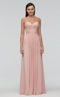 Teenage Pink Sweetheart Long A Line Chiffon Bridesmaid Dress BDNZ1652