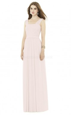 Trendy Long Ivory Straps Chiffon Bridesmaid Dress BDNZ1660