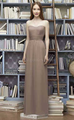 Teenage Satin Chiffon Sweetheart Long A Line LightBrown Bridesmaid Dress BDNZ1663
