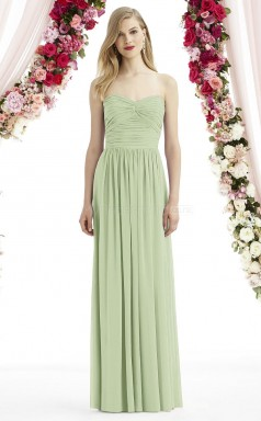 Chic Long Chiffon Sweetheart Sage A Line Bridesmaid Dress BDNZ1666