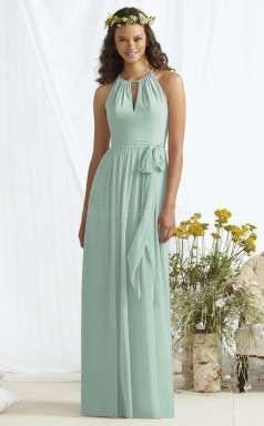 Classic LightBlue Long Halter Chiffon A Line Bridesmaid Dress BDNZ1667