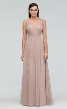 Chic Tulle V-neck Long LightChampange A Line Bridesmaid Dress BDNZ1718