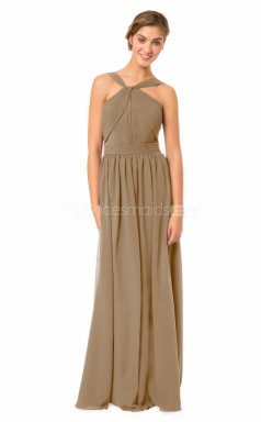 Chiffon Halter Long Dark Khaki Bridesmaid Dress NZBD1872