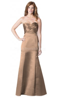Stretch Satin Long Mermaid Sweetheart Neckline Light Brown Bridesmaid Dress NZBD1880