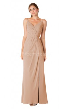 V Neck Chiffon Dark Salmon Long Bridesmaid Dress NZBD1898