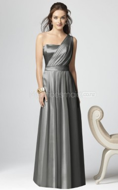 Silver Matte Satin Princess One Shoulder Long Bridesmaid Dresses (NZBD06268)