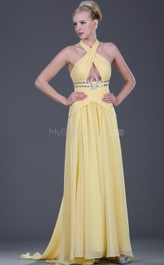 Yellow Chiffon A-line Halter Long Bridesmaid Dresses (NZBD06463)