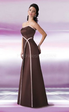 Brown Satin Mermaid Strapless Long Bridesmaid Dresses (NZBD06564)
