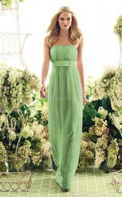 Sage Chiffon Sheath Strapless Long Bridesmaid Dresses (NZBD06617)