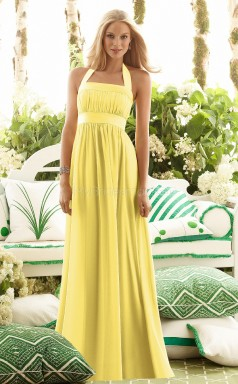 Yellow Chiffon A-line Halter Neck Long Bridesmaid Dresses (NZBD06632)