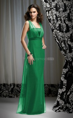 Green Chiffon Sheath Straps Long Bridesmaid Dresses (NZBD06645)