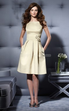 Champagne Satin A-line Bateau Neckline Knee Length Bridesmaid Dresses (NZBD06658)