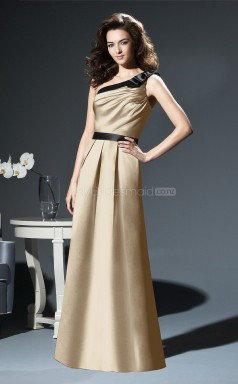 Champagne Satin A-line One Shoulder Long Bridesmaid Dresses (NZBD06672)