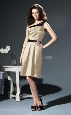 Champagne Stretch Satin A-line One Shoulder Knee-length Bridesmaid Dresses (NZBD06685)