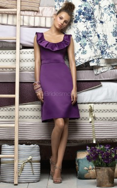 Grape Satin A-line Scoop Short Bridesmaid Dresses (NZBD06689)