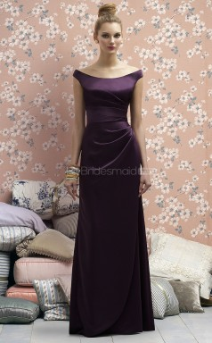 Grape Matte Satin Sheath Off The Shoulder Long Bridesmaid Dresses (NZBD06722)