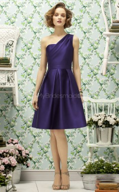 Regency Satin A-line One Shoulder Knee-length Bridesmaid Dresses (NZBD06751)