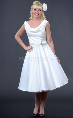 Ivory Satin Knee Length Vintage Bridesmaid Dresses (NZBD06914)