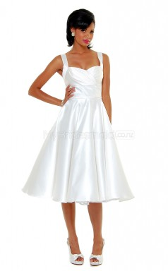White Satin Tea Length Vintage Bridesmaid Dresses (NZBD06922)
