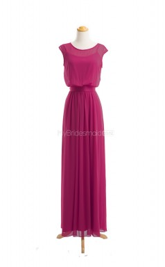 New Arrive Fuchsia A Line Jewel Chiffon Long Bridesmaid Dresses (BSD020)