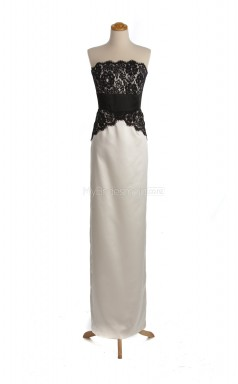 Beautiful Silver Column/Sheath Strapless Lace , Satin Long Bridesmaid Dresses (BSD080)