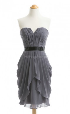 New Arrive Dark Gray A Line Strapless Chiffon Bridesmaid Dresses (BSD099)