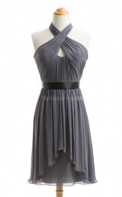 Vogue Silver A Line Halter Chiffon Bridesmaid Dresses (BSD100)