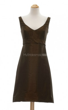 Stunning Brown A Line V Neck Taffeta Bridesmaid Dresses (BSD116)