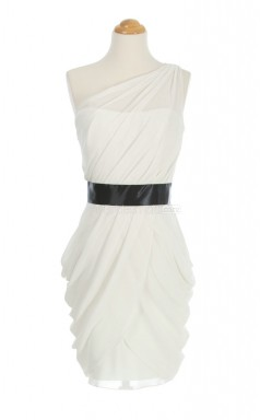 Best Selling Ivory Column/Sheath One Shoulder Chiffon Bridesmaid Dresses (BSD128)