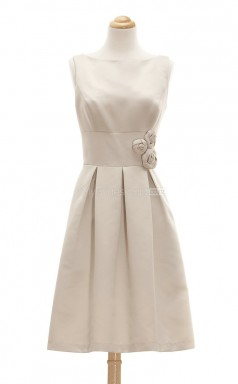 Fashion Champagne A Line Bateau Satin Bridesmaid Dresses (BSD131)