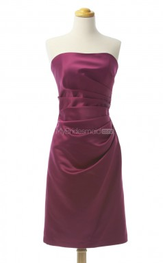 Hot Sale Burgundy A Line Strapless Satin Bridesmaid Dresses (BSD143)