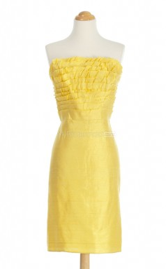 Lovely Yellow Column/Sheath Strapless Taffeta Bridesmaid Dresses (BSD151)