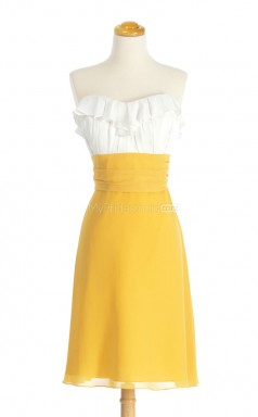 Amazing Yellow A Line Sweetheart Chiffon Bridesmaid Dresses (BSD152)