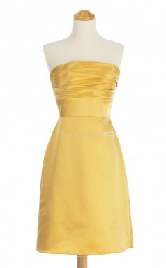 Classic Yellow A Line Strapless Taffeta Bridesmaid Dresses (BSD195)
