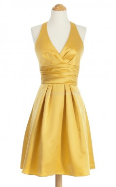 Affordable Yellow A Line V-Neck Satin Bridesmaid Dresses (BSD196)