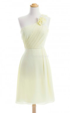 Charming Yellow A Line One Shoulder Chiffon Bridesmaid Dresses (BSD199)