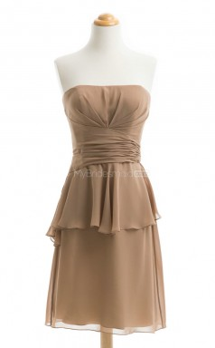 Elegant Brown A Line Strapless Chiffon Bridesmaid Dresses (BSD200)