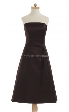 Hot Chocolate A Line Strapless Satin Bridesmaid Dresses (BSD208)