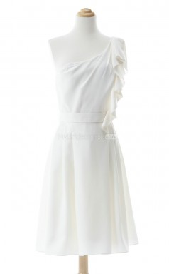 Vogue White A Line One Shoulder Chiffon Bridesmaid Dresses (BSD215)