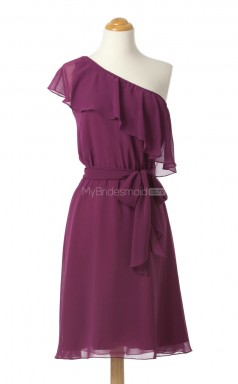 Best Selling Fuchsia A Line One Shoulder Chiffon Bridesmaid Dresses (BSD223)