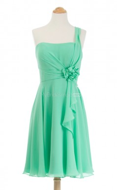Hot Lime Green A Line One Shoulder Chiffon Bridesmaid Dresses (BSD238)