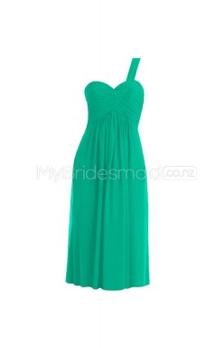 Custom Color One Shoulder Chiffon Short Bridesmaid Dress BSD300