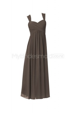 Custom Color Straps Chiffon Long Bridesmaid Dress BSD315