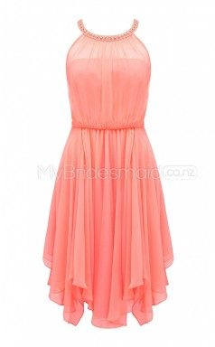 Custom Color A Line Asymmetrical Bridesmaid Dress BSD389