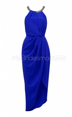 Custom Color Jewel Charmeuse Hi-Lo Bridesmaid Dress BSD395