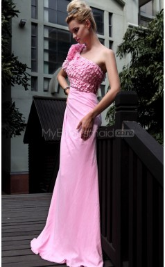 Mermaid Sweep Train Pink Semi-Formal Dress (GZNZ30606)