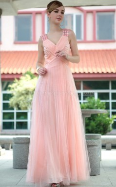 Long Pink V-neck Pageant Dress (GZNZ30636)